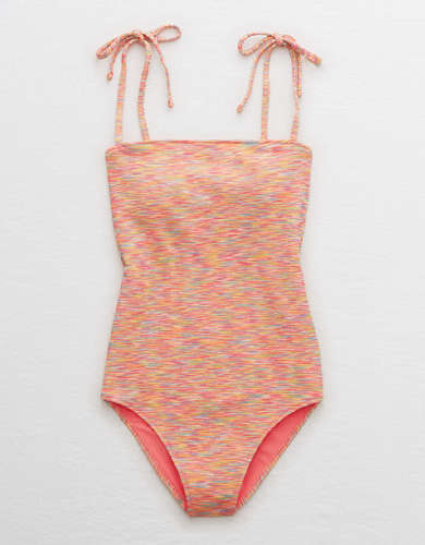 Aerie Space Dye Pique Bandeau One Piece Swimsuit