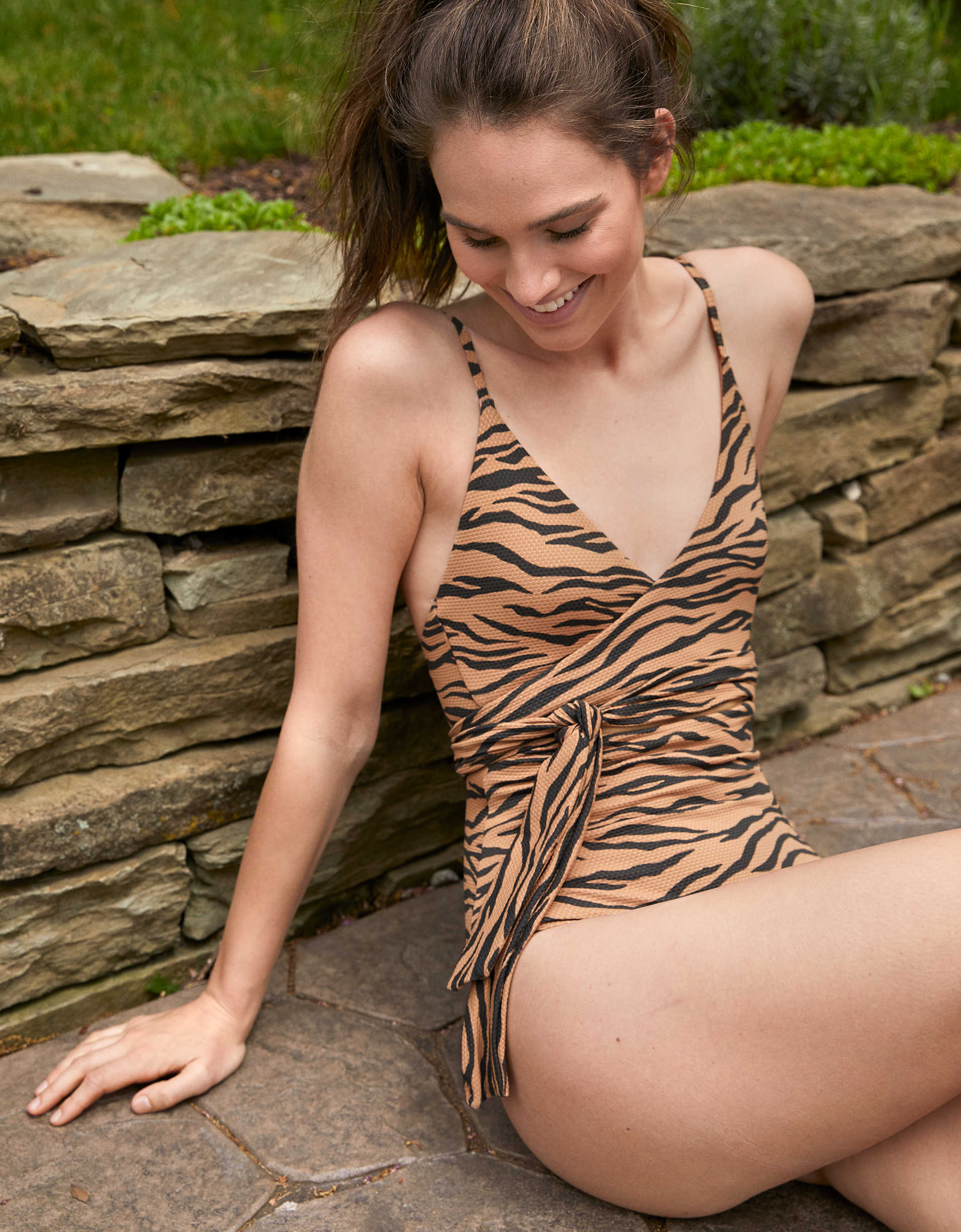 Aerie Pique Animal Print Wrap One Piece Swimsuit