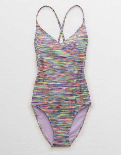 Aerie Space Dye Pique Strappy Back One Piece Swimsuit