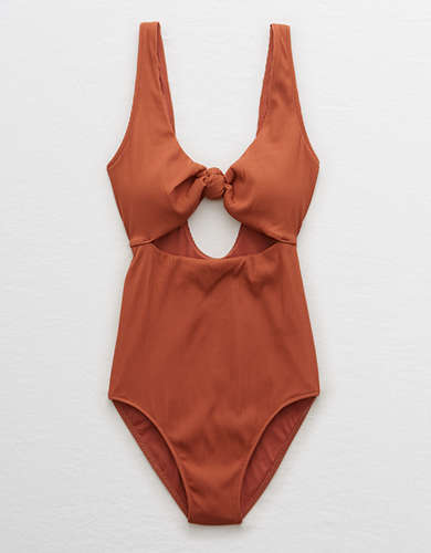 Aerie Ribbed Knot One Piece Swimsuit