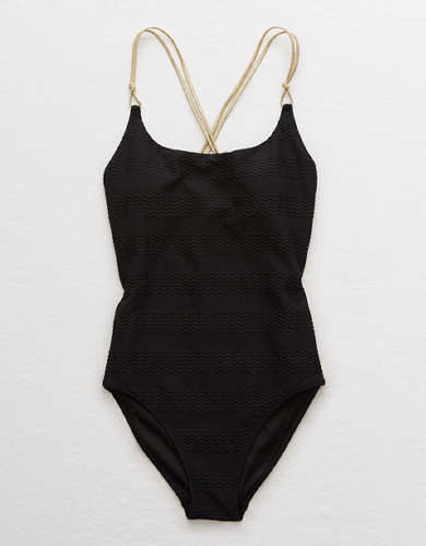 Aerie Jacquard Scoop One Piece Swimsuit