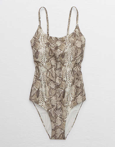 Aerie Snake Tie Back One Piece Swimsuit