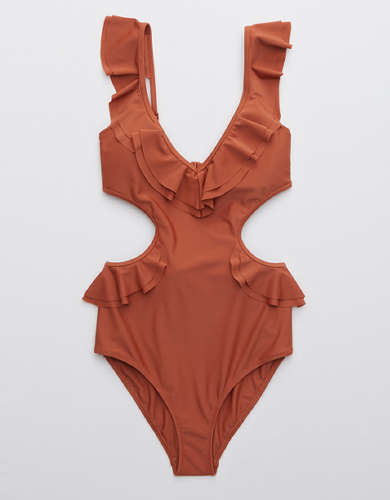 Aerie Ruffle Cut Out One Piece Swimsuit