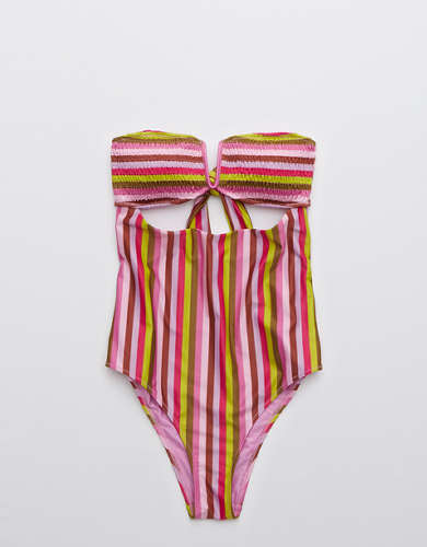 Aerie Smocked Bandeau One Piece Swimsuit