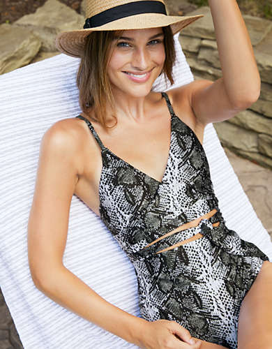 Aerie Snake Wrap One Piece Swimsuit