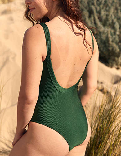 Aerie Ribbed Shine Scoop One Piece Swimsuit