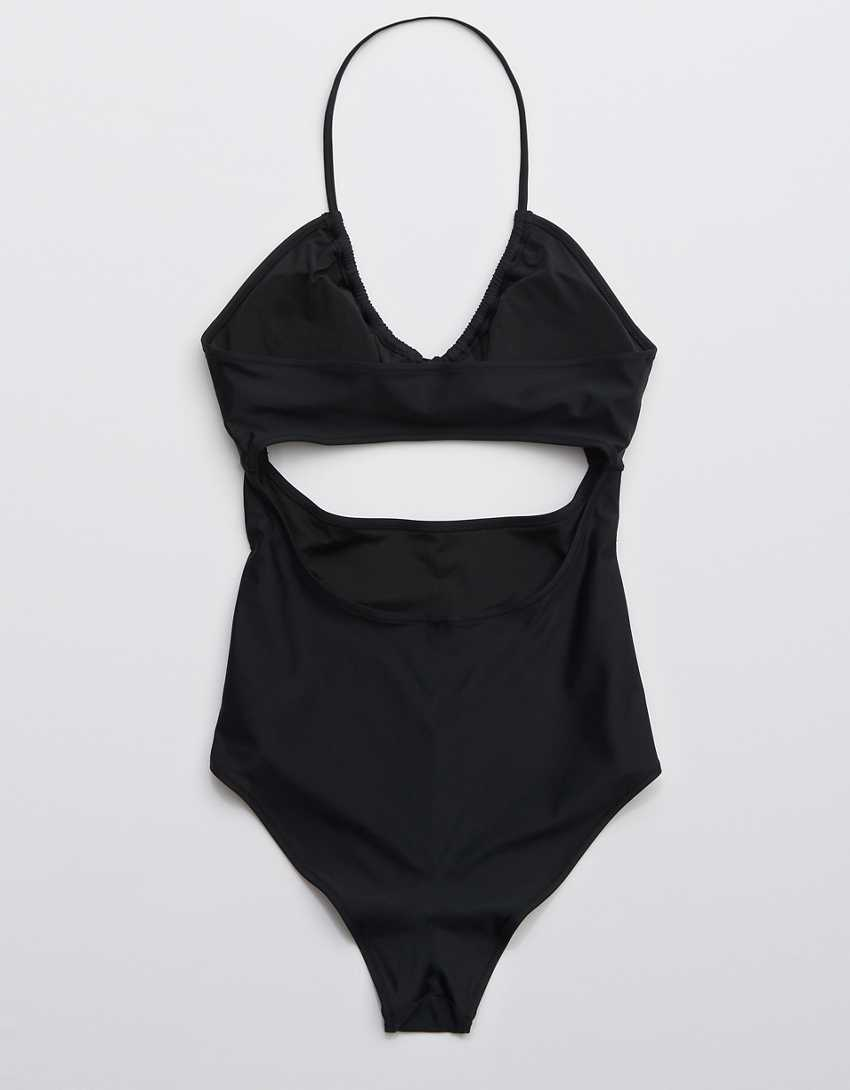 Aerie Ruched Cut Out One Piece Swimsuit