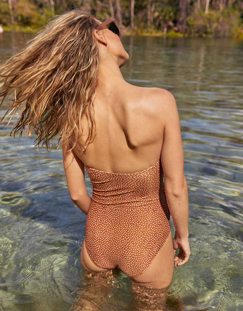 Aerie Printed Wrap Bandeau One Piece Swimsuit
