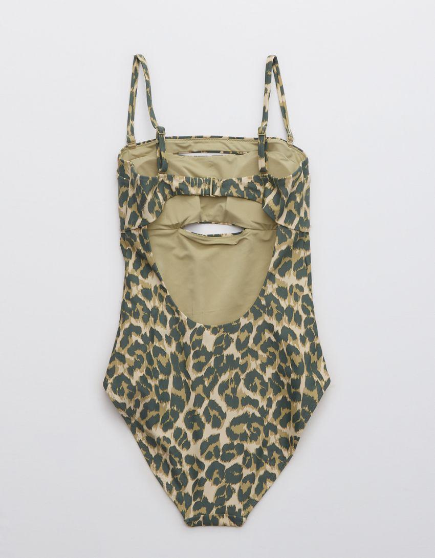 Aerie Leopard Split Bandeau One Piece Swimsuit
