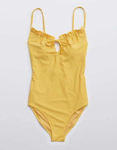 Aerie Ruffle Keyhole One Piece Swimsuit