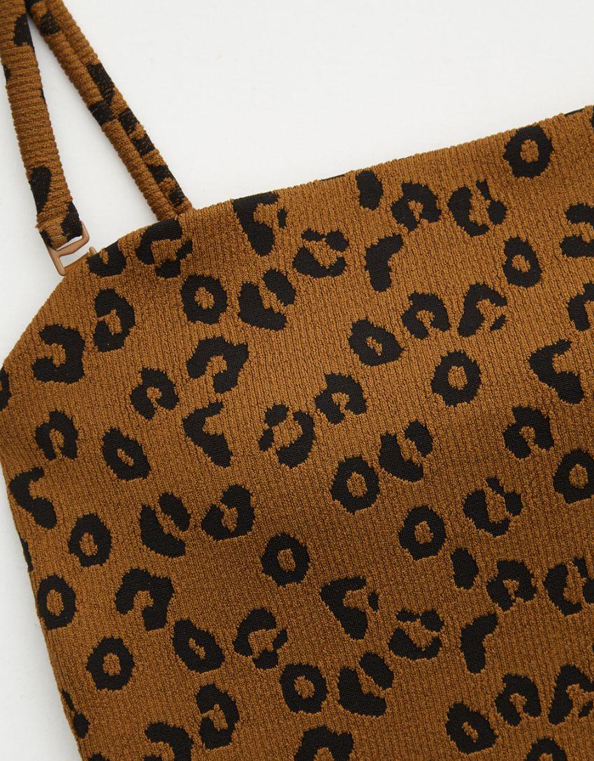 Aerie Leopard Textured Bandeau One Piece Swimsuit