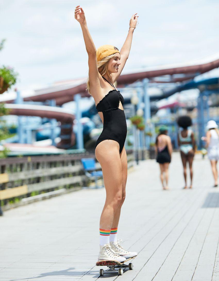 Aerie Pique Bandeau Halter One Piece Swimsuit