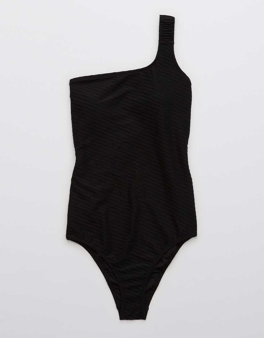 Aerie Jacquard Scrunchie Asymmetrical One Piece Swimsuit