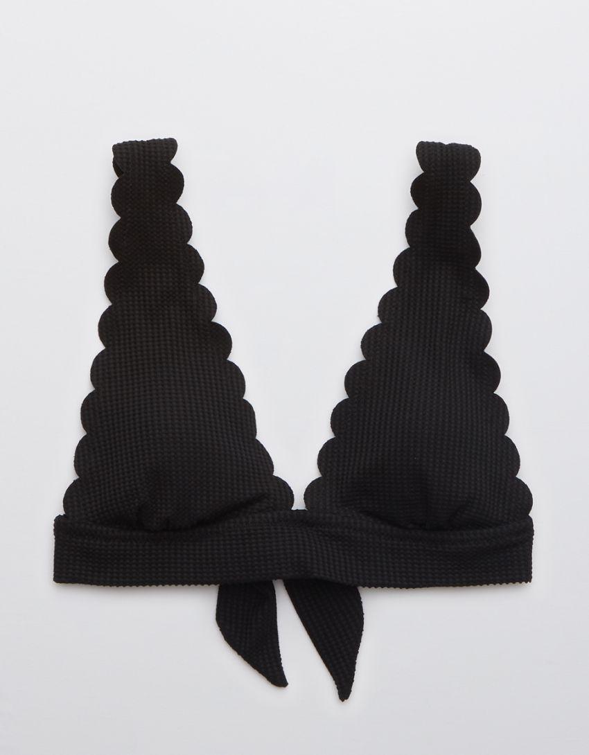 Aerie Waffle Scalloped Tie Longline Triangle Bikini Top
