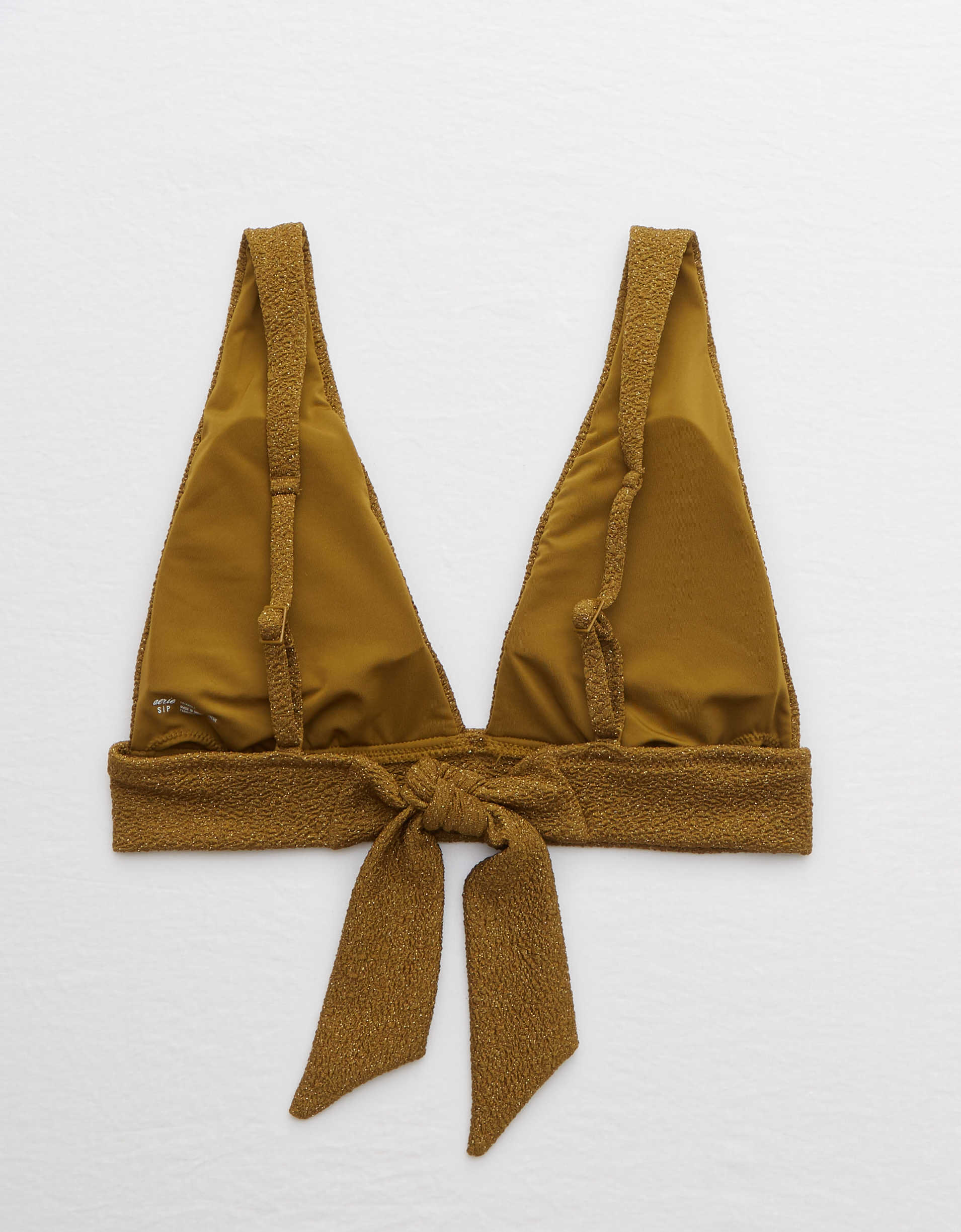Aerie Shine Tie Longline Triangle Bikini Top