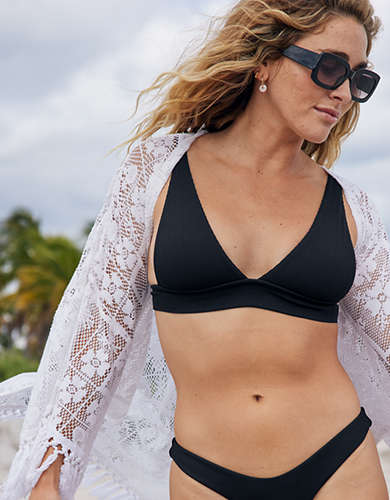 Aerie Ribbed Tie Longline Triangle Bikini Top