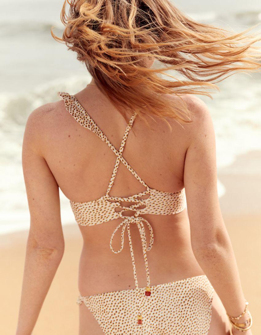 Aerie Printed Ruffle Tie Longline Triangle Bikini Top