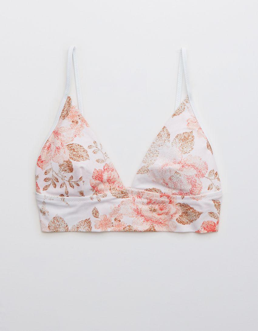 Aerie Printed Binding Longline Triangle Bikini Top