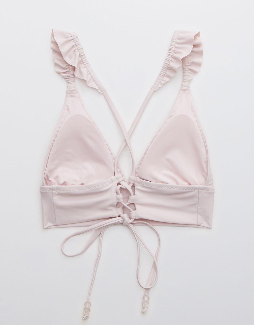 Aerie Ruffle Tie Longline Triangle Bikini Top