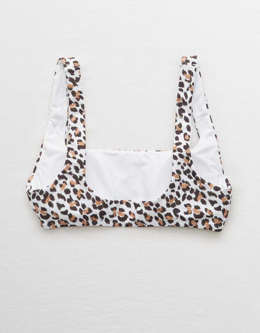 Aerie Leopard Wide Strap Scoop Bikini Top
