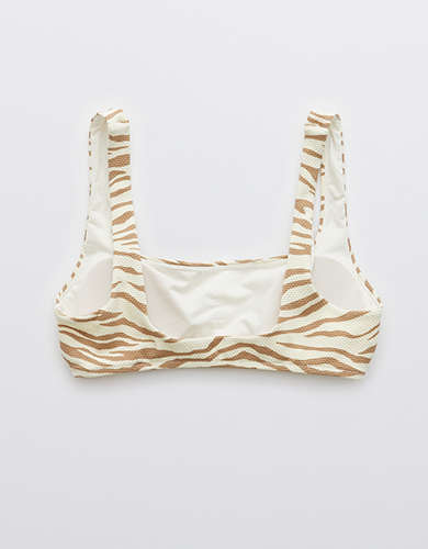Aerie Pique Animal Print Wide Strap Scoop Bikini Top