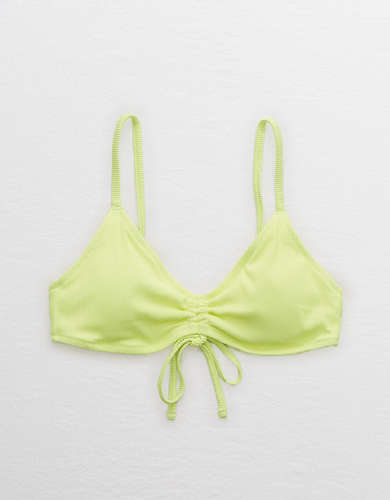 Aerie V Scoop Ruched Ribbed Bikini Top