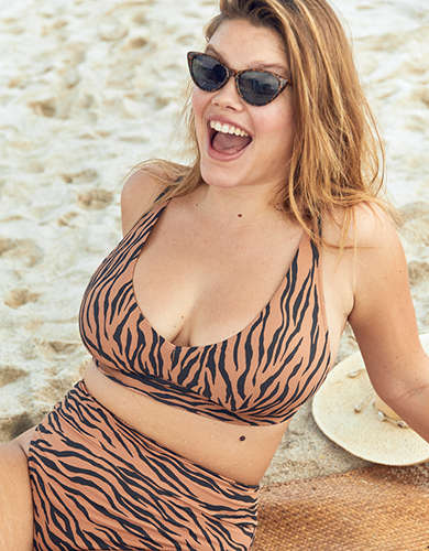 Aerie Pique Animal Print Longline V Scoop Bikini Top