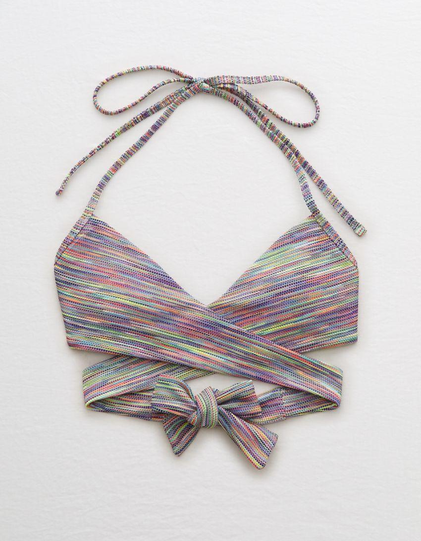 Aerie Space Dye Pique Wrap Halter Bikini Top