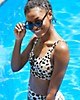Aerie Leopard Banded Wide Strap Scoop Bikini Top