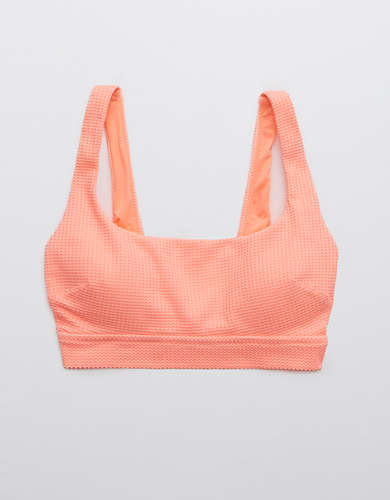 Aerie Waffle Banded Wide Strap Scoop Bikini Top