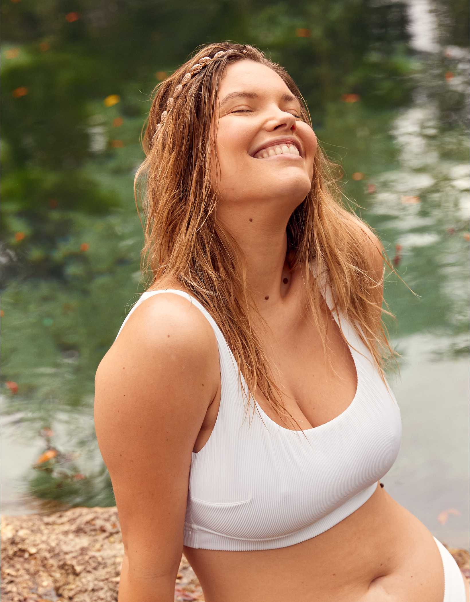 Aerie Ribbed Banded Wide Strap Scoop Bikini Top