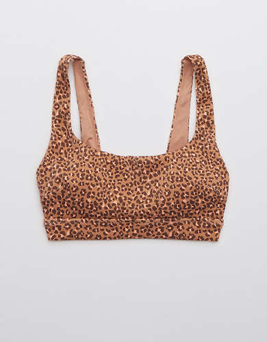 Aerie Ribbed Leopard Wide Strap Scoop Bikini Top