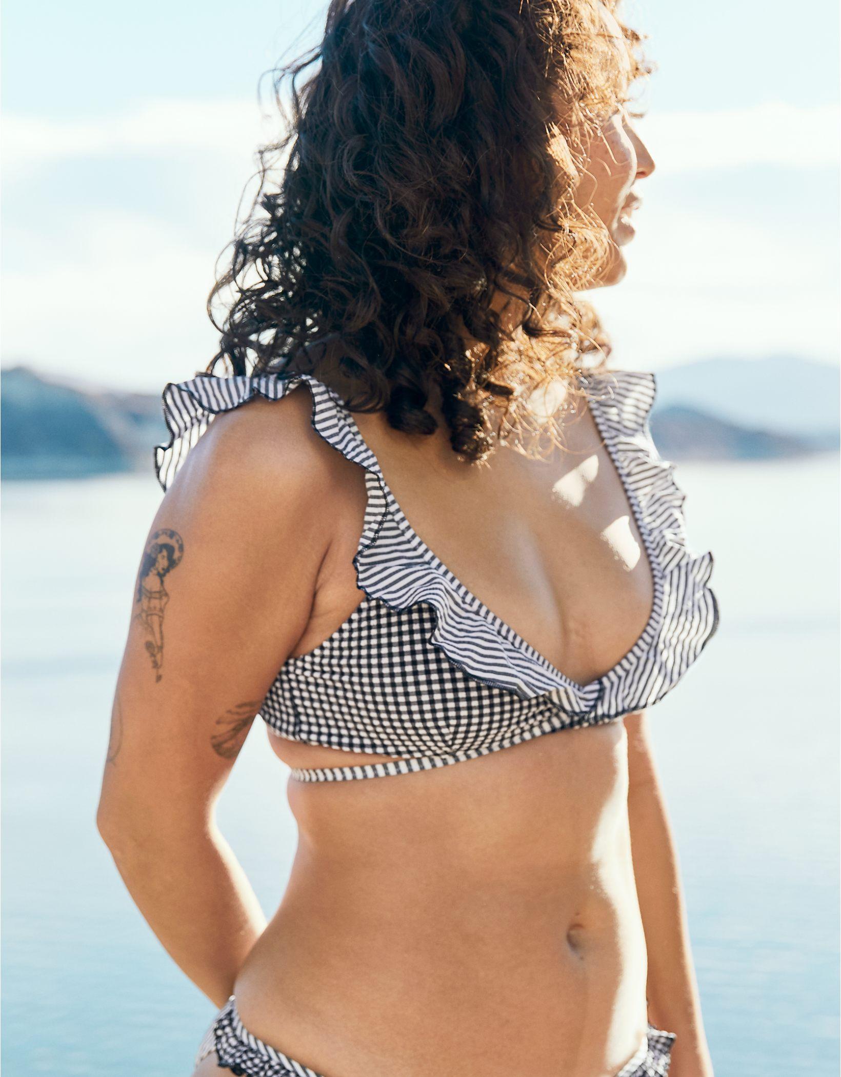 Aerie Seersucker Ruffle Wrap Bikini Top