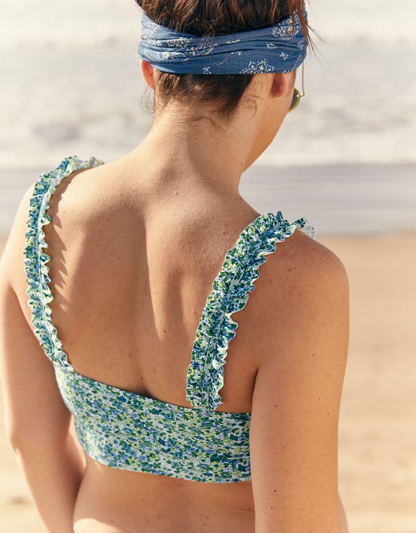 Aerie Ruffle Longline Scoop Bikini Top