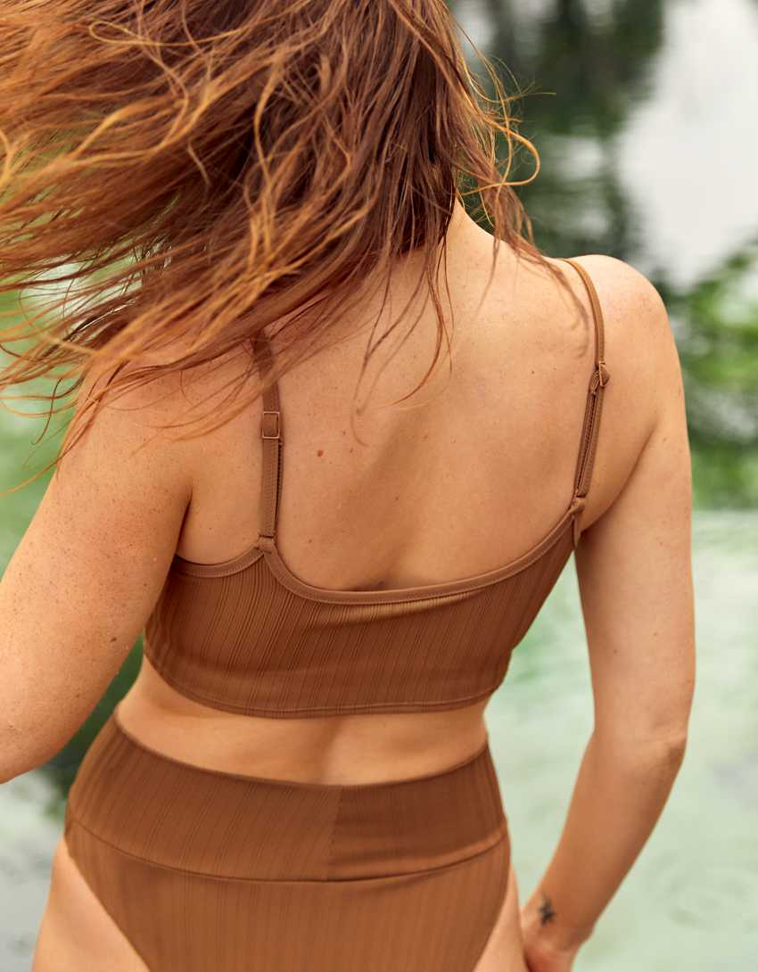 Aerie Striped Ribbed Longline Scoop Bikini Top