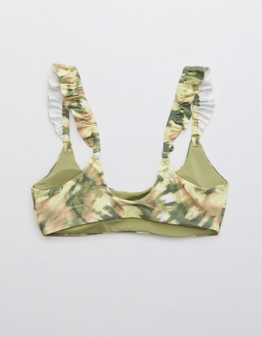 Aerie Printed Ruffle Scoop Bikini Top