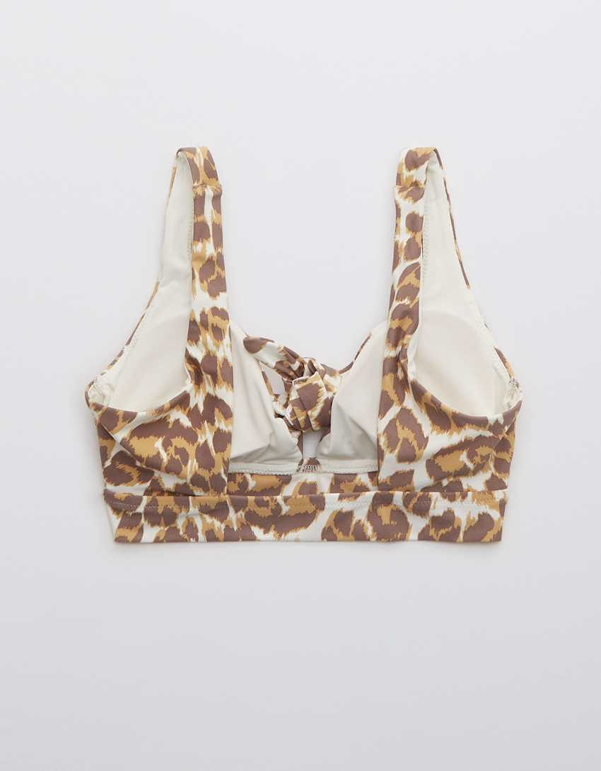 Aerie Leopard Tie Banded Wide Strap Scoop Bikini Top