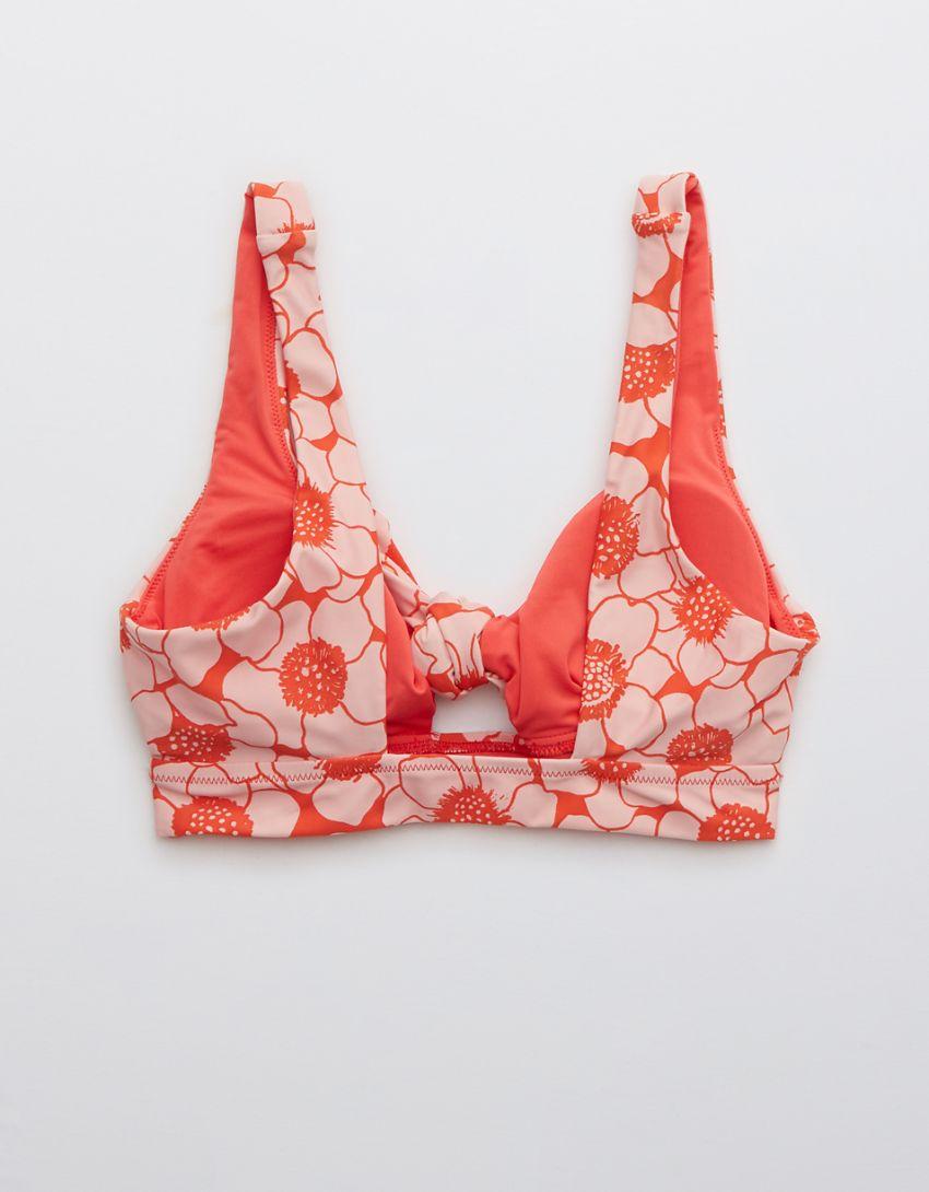 Aerie Printed Tie Banded Wide Strap Scoop Bikini Top