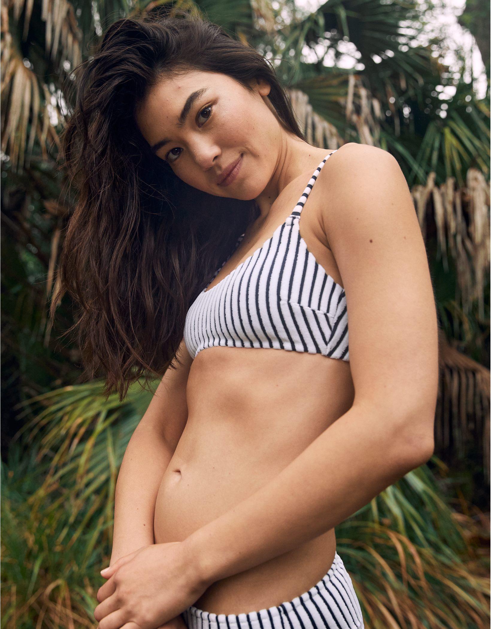 Aerie Terry Striped Scoop Bikini Top
