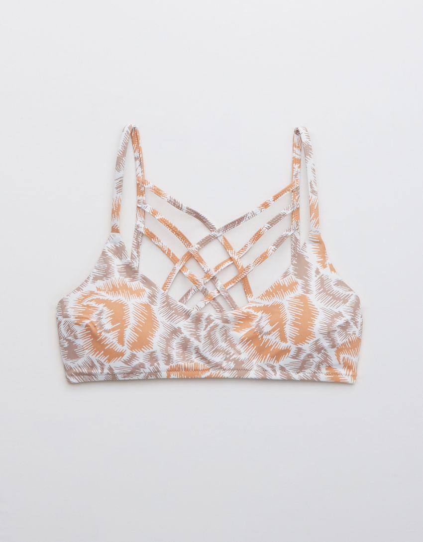 Aerie Printed Strappy Scoop Bikini Top