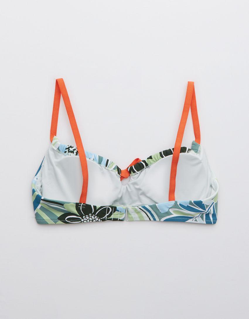 Aerie Printed Ruched Scoop Bikini Top
