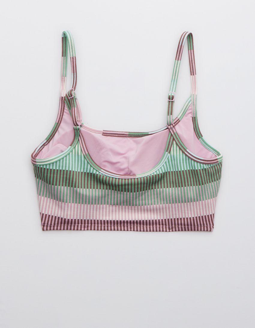 Aerie Jacquard Striped Longline Scoop Bikini Top