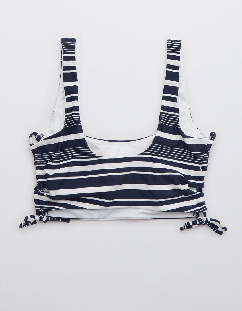 Aerie Printed Lace Up Longline Scoop Bikini Top