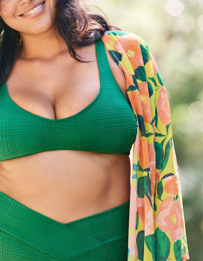 Aerie Jacquard Scoop Plunge Bikini Top