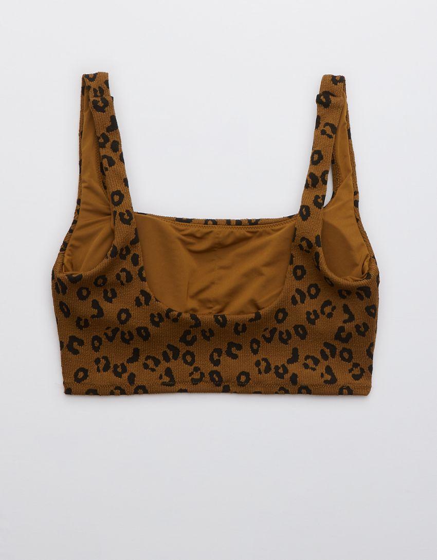 Aerie Leopard Textured Longline Scoop Bikini Top