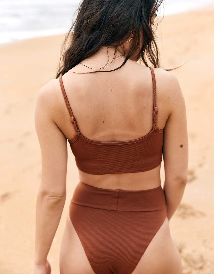 Aerie Pique Longline Scoop Bikini Top