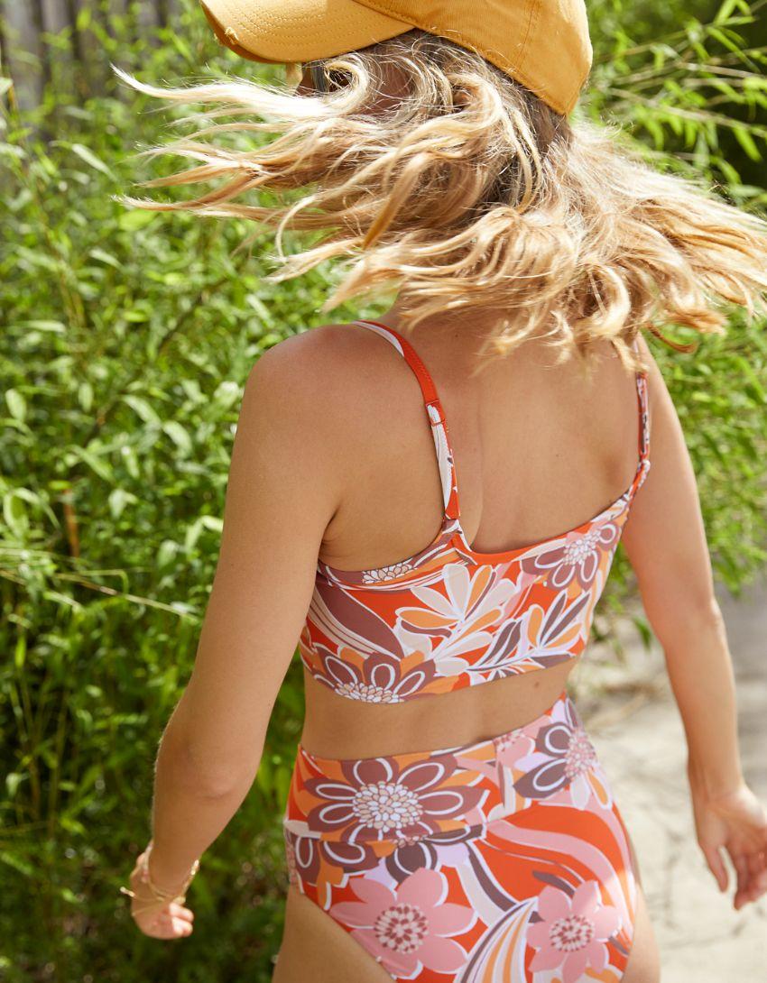 Aerie Printed Longline Scoop Bikini Top