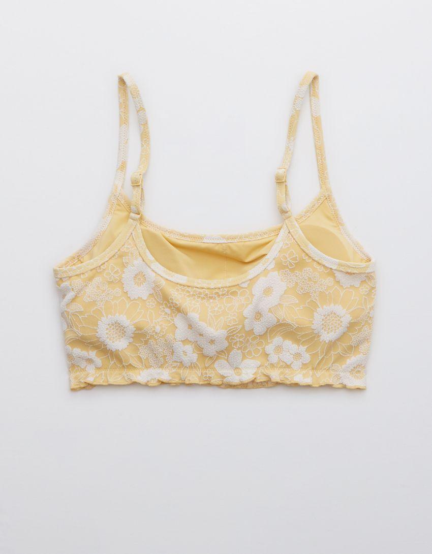 Aerie Jacquard Floral Longline Scoop Bikini Top