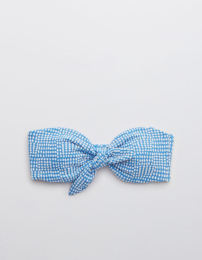 Aerie Jacquard Tie Bandeau Bikini Top