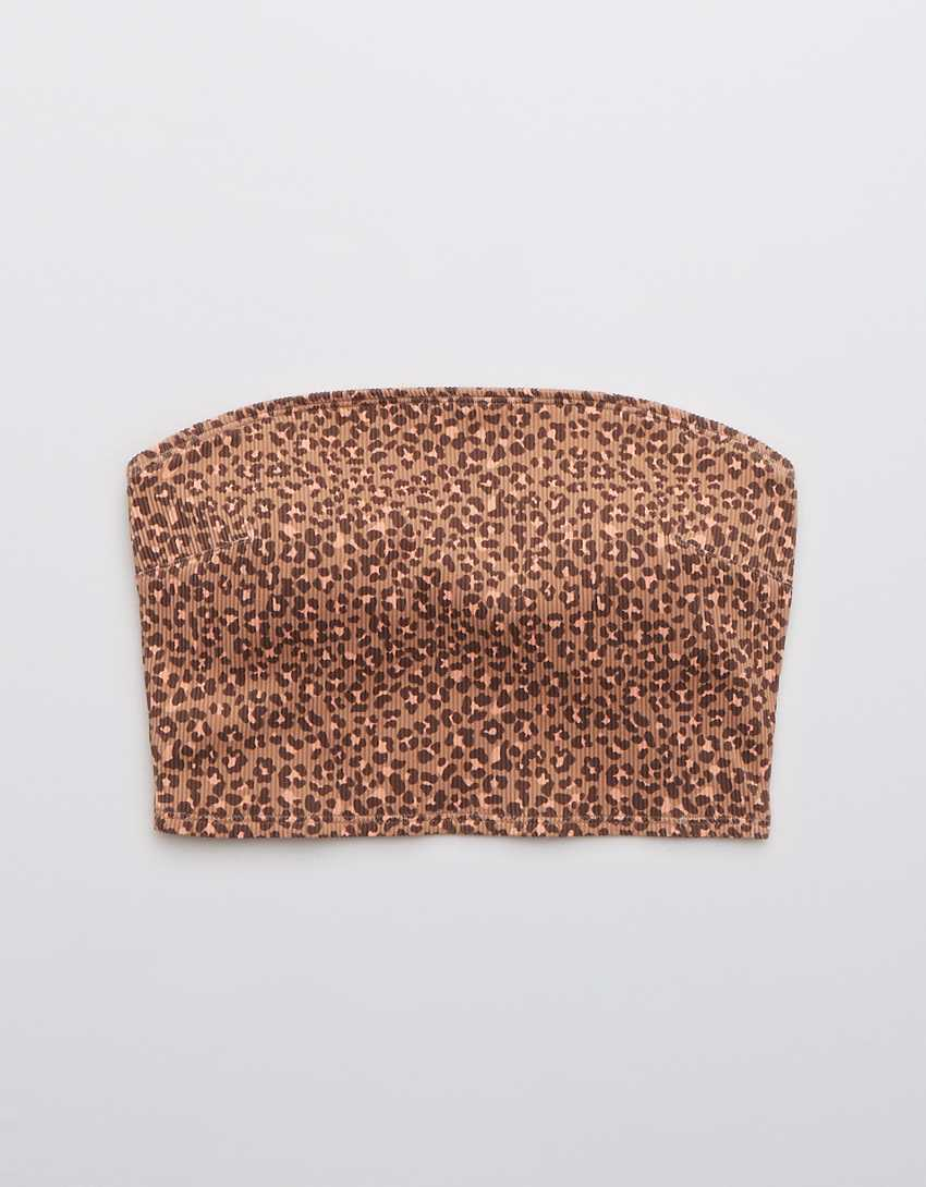 Aerie Ribbed Leopard Longline Bandeau Bikini Top